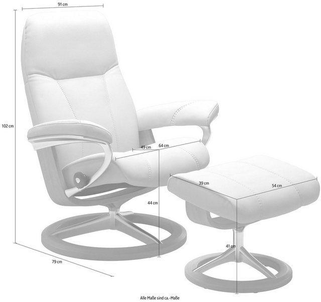 Set: Relaxsessel mit Hocker »Consul« mit Signature Base, Größe L, Gestell Eiche