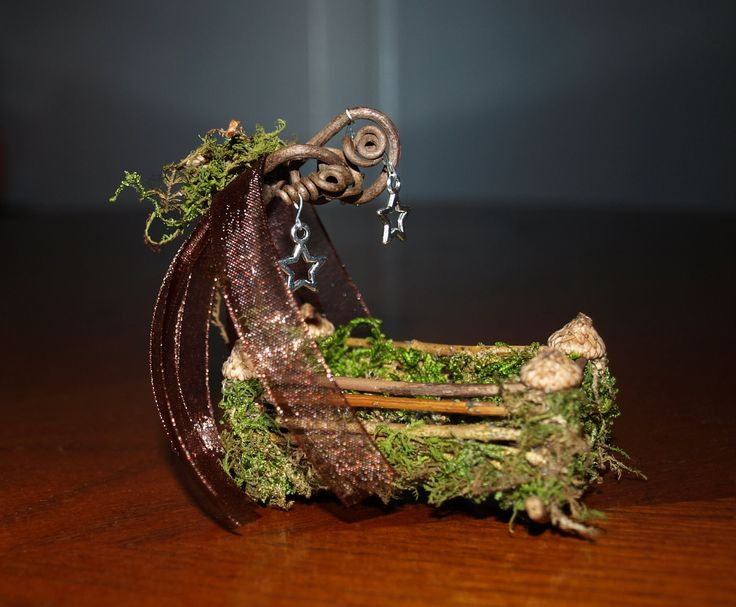 OOAK Mini Fairy Rocking Cradle Bed Miniature Dollhouse. $14.00, via Etsy.