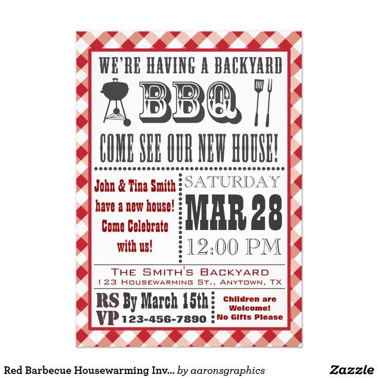 red barbecue housewarming invitation blank back  zazzle