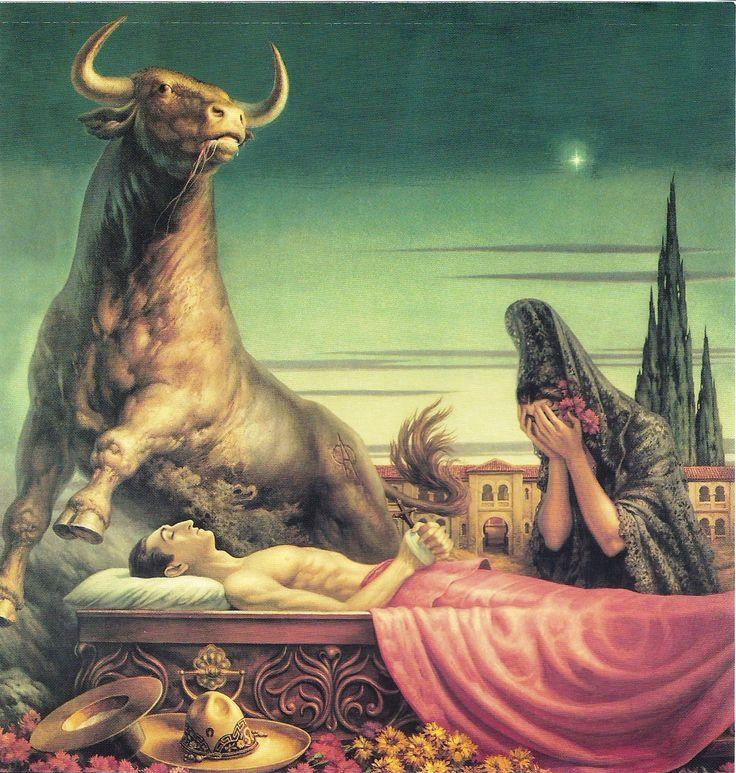 """(Jesús Helguera, México 1910-1971).  """" La muerte de Manolete"""". Visitar: http://terciodepinceles.blogspot.co.il/2012/09/pintores-taurinos-jesus-helguera.html"""