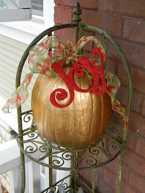 love the reused pumpkins from fall idea. Use the Joy and Ribbon in retreat colors