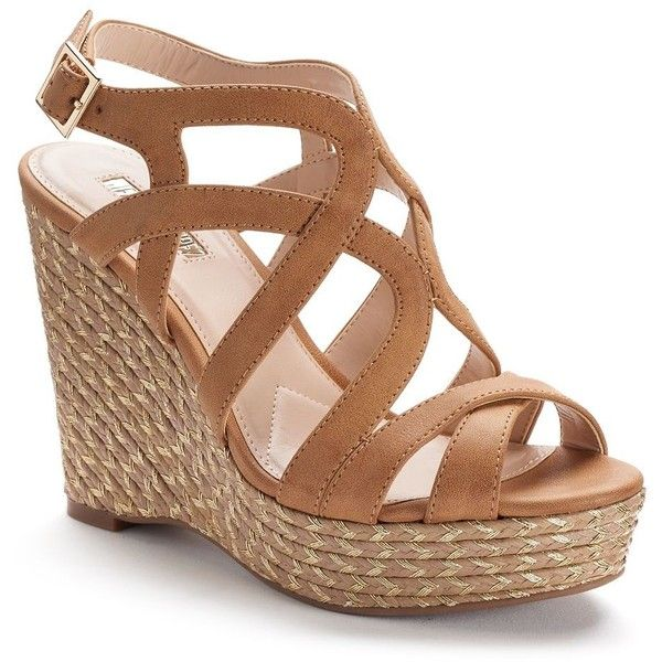 Jennifer Lopez Women's Espadrille Wedge Sandals ($50) ❤ liked on Polyvore featuring shoes, sandals, lt brown, espadrille wedge sandals, wedge espadrilles, brown strappy sandals, wedge shoes and strap wedge sandals