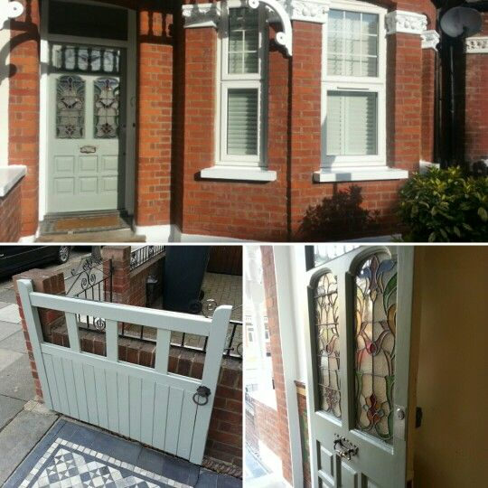 Farrow and Ball 'Pigeon'. My newly painted front door and gate.