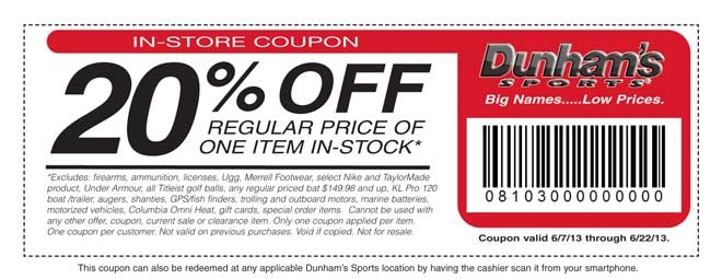 Dunhams Sports In-Store Coupon NOT a good deal as it EXCLUDES too many hot items!!!!