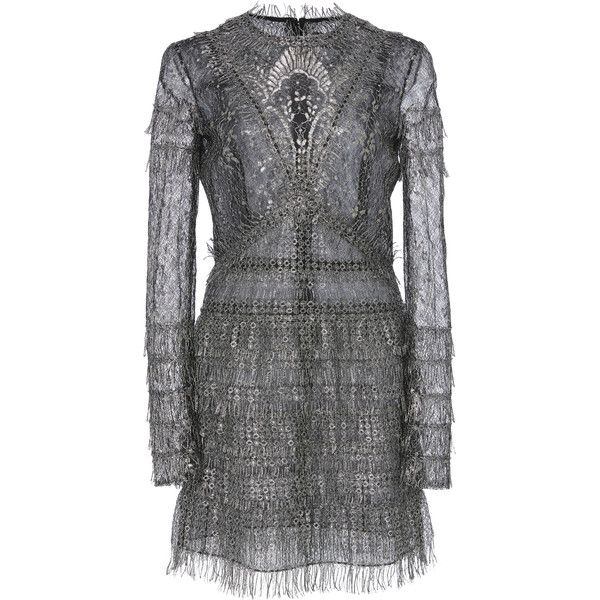 J. Mendel Long Sleeve Mini Dress (€3.750) ❤ liked on Polyvore featuring dresses, silver, long sleeve dresses, long sleeve mini dress, short silver dresses, long sleeve pleated dress and tiered dress