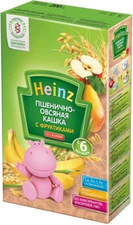 Каша Heinz пшенично-овсяная с фруктами безмолочная, 200 гр  — 88р.  Безмолочная кашка Heinz Пшенично-овсяная с фруктиками без добавления молока и соли  идеальна для начала прикорма, содержит 100% натуральные злаки, пребиотик для комфортного пищеварения, легко усваивается.   Реальный цвет может отличаться от представленного на сайте, ввиду различных настроек монитора.