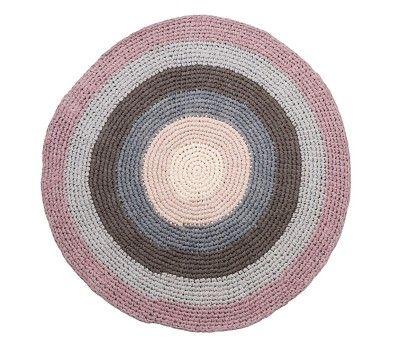 Gulvteppe fra Sebra, heklet rundt teppe, rosa/grå