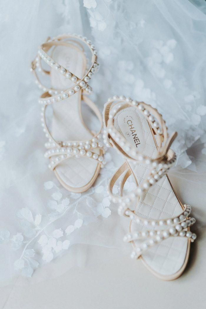 Elegant Chanel Bridal Shoes With Pearl Detailing Image By Terralogical Photography Brideshoes Spring Wedding Shoes Elegant Wedding Shoes Red Wedding Shoes