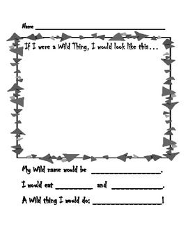 free where the wild things are worksheet maurice sendakfree worksheetsbook activitieswild