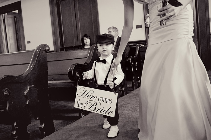 Wedding Sign : Ring bearer with Here Comes the Bride sign.  Bow tie toddler.  Children's suspenders.  Precious ring bearer.