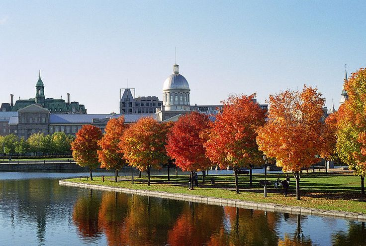 Montreal Old Port in Autumn -  Bonsecours Market in background, Québec, Canada