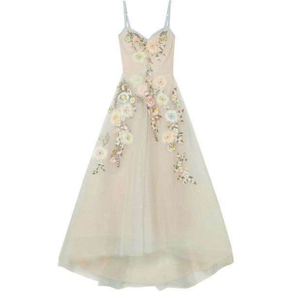 Marchesa Notte Embroidered embellished tulle gown ($1,375) ❤ liked on Polyvore featuring dresses, gowns, gown, sky blue, white dresses, white feather dress, embroidery dress, floral embroidered dress and floral embroidery dress
