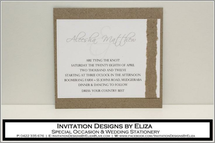 Invitation Design {Wedding} Natural County Eco Theme www.facebook.com/InvitationDesignsByEliza