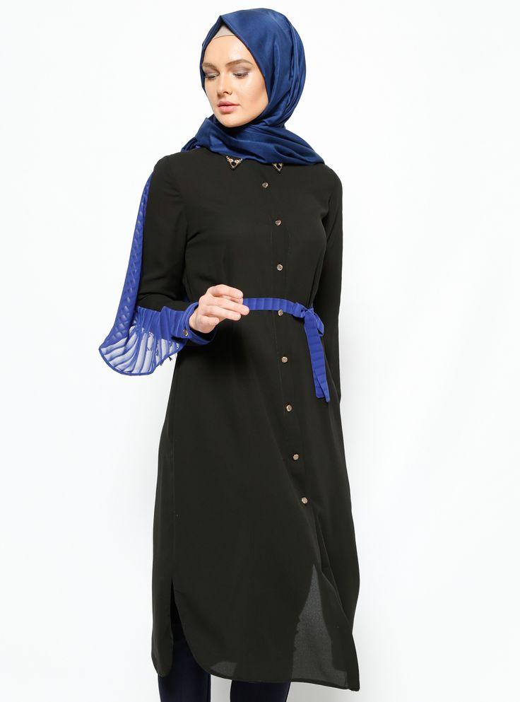 1011 Düğmeli Şifon Detaylı Siyah Tunik | Peçem Ferace