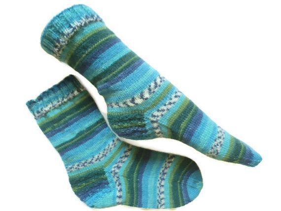 Hand knit socks diabetic socks stripey blue by Knitwoolsocks