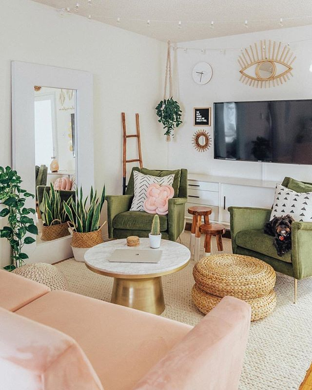Pink And Green Are Forever Our Favorite Pair Hesbystyle Raw Manda Mid Century Living Room Decor Mid Century Living Room Living Room Design Modern