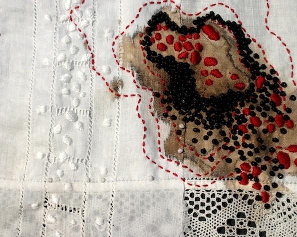 Sutra 2 || Erin Endicott | Antique linens, walnut ink, thread, beads