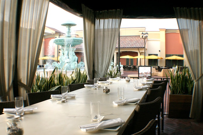 Giant patio table at Dragonfly Orlando. Great for large parties!