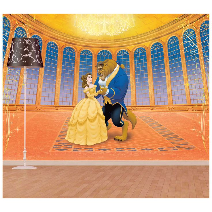 Disney princesses care to dance full wall mural a for Disney princess ballroom mural