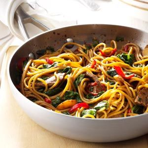Beef & Spinach Lo Mein Recipe -If you like a good stir-fry, this dish will definitely satisfy. I discovered the recipe at an international luncheon, and it's now a favorite go-to meal. —Denise Patterson, Bainbridge, Ohio
