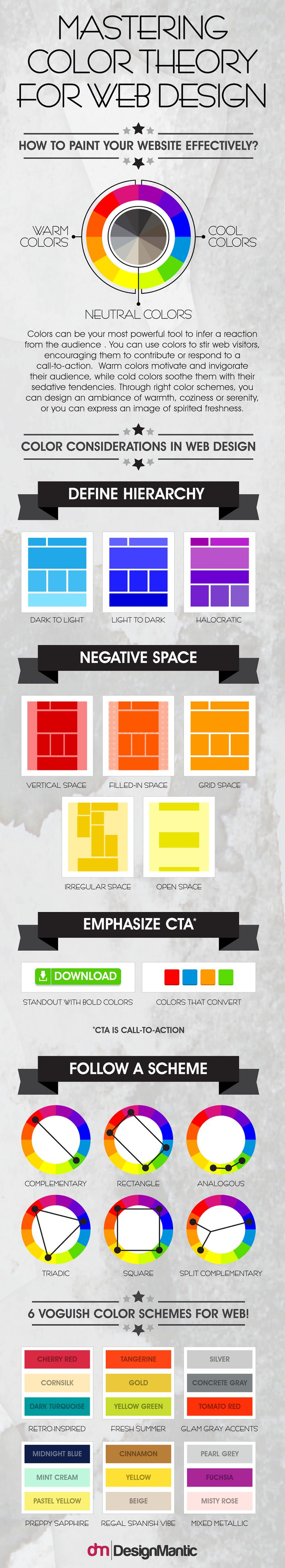 Paint colors website - Infographic Mastering Color Theory For Web Design Designtaxi Com
