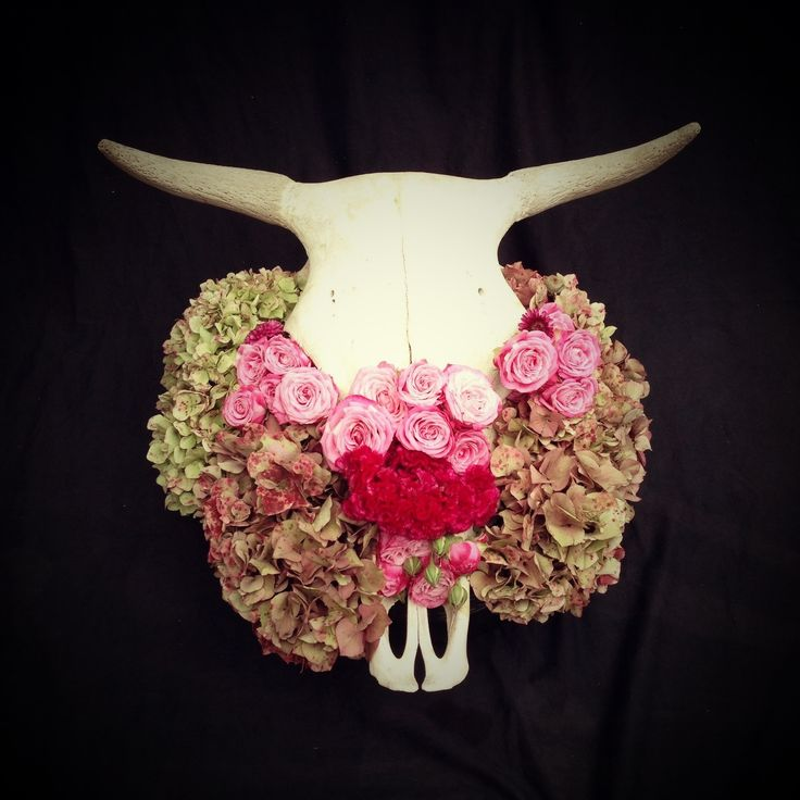 Cow Skull And Flowers Flower Box Centerpieces