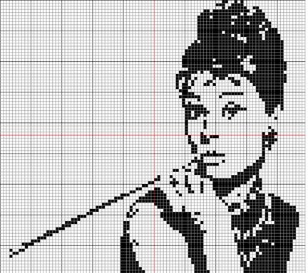 Audrey Hepburn cross-stitch chart - I've got WAY too many projects floating around in my head!