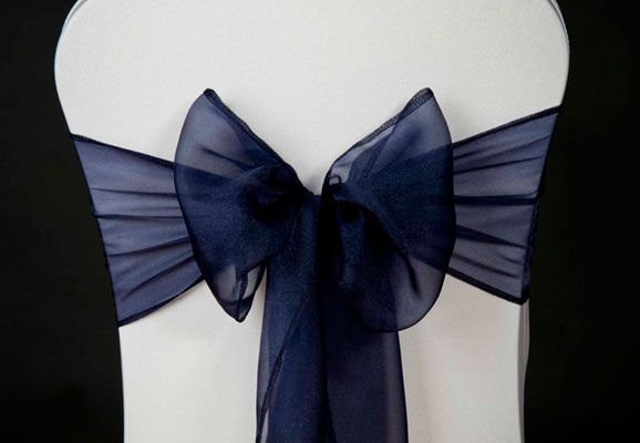 Wedding Chair Cover: Navy Blue Organza