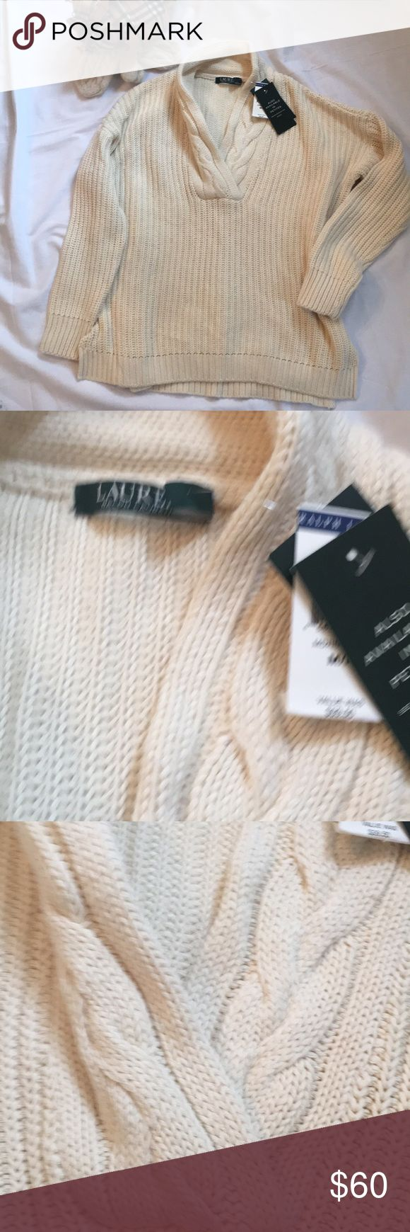 Ralph Lauren Lauren cotton Shaw sweater This is a great Ralph Lauren Lauren shawl ribbed cable sweater.  New with tags.  100% cotton. Lauren Ralph Lauren Sweaters