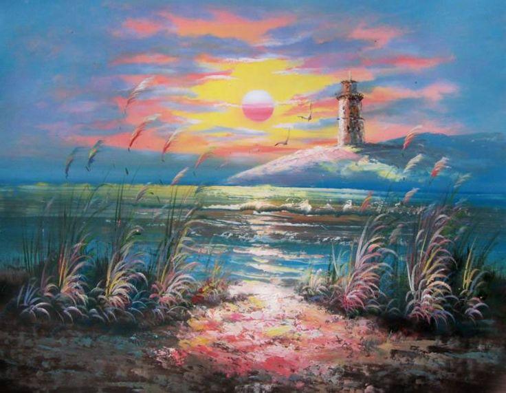Ocean oil paintings land sea nature oil painting 571