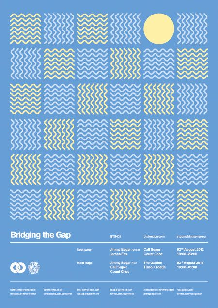 Really tight grid (6 columns, obviously!) with simple but lovely graphic. Nice repetition, contrast, pattern, and unity happening here. Helllllllllvetica!
