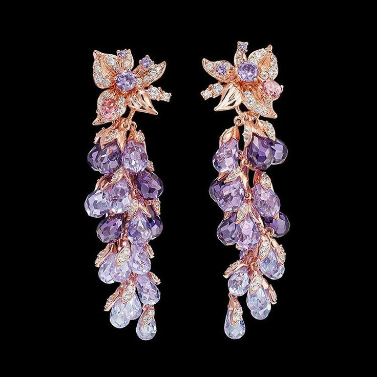 @anabelachan. The special edition Lilac Coralbell Earrings with glistening violet, lavender and lilac amethysts . English Garden Collection
