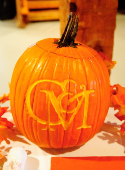 Monogrammed Carved Pumpkins Would Work Well For A Fall Wedding Reception