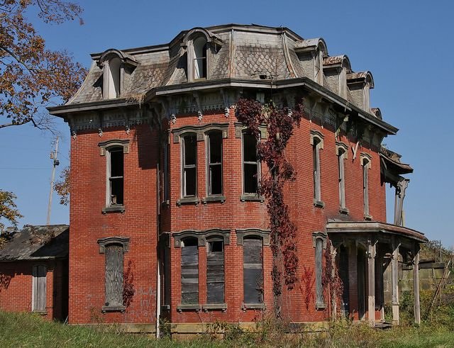 """This is the taboo abandoned home known in Lancaster, Ohio as """"Mud House Mansion."""" I photographed it recently while visiting my daughter there. It is everything they say and so much more. A lovely old home that is just left to die. Heartbreaking and exhilarating at the same time."""