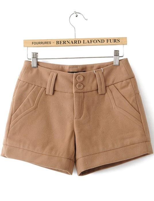 Khaki Loose Button Fly Shorts