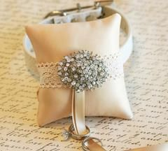 Dog Ring Bearer, Pillow attach to white Leather Collar, Vintage wedding, Victorian wedding, Dog Lovers - LA Dog Store  - 1