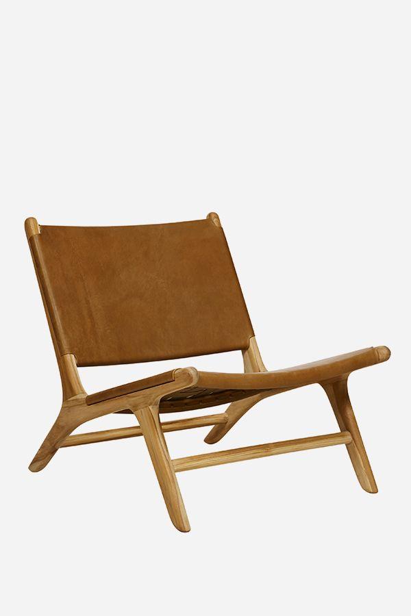 Fenton & Fenton Leather Marlboro Chair - Teak & Tan $750