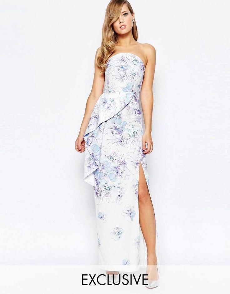 True Violet | True Violet Bandeau Peplum Maxi Dress With Split In Print at ASOS