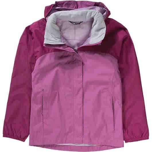 Die atmungsaktive THE NORTH FACE Regenjacke für Mädchen besteht aus wind- und wasserdichtem Material und ist genau die richtige Jacke für nasse Regentage. Das leichte Meshfutter hat ein geringes Gewicht und sorgt für ein angenehmes Tragegefühl.<br /> <br /> - wasserdicht (Wassersäule: 25.000 mm) und winddicht<br /> - atmungsaktiv (Atmungsaktivität: 10.000 g/m²/24h)<br /> - weich gefütterter Stehkragen<br /> - Kapuze , die sich bei Bedarf im Stehkragen verstauen lässt<br /> - durchgehender…