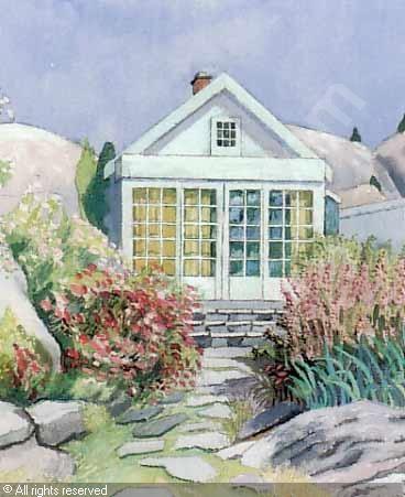 Ferdinand Finne (1910 – 1999): Det første hjem på Sørlandet, watercolor