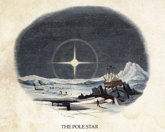 "Vintage Natural History Print ""The Pole Star"" Victorian Pirate Ship - Arctic Winter Antique Print - Nautical Fantasy Rustic Nature"