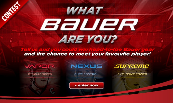 What Bauer are you?  Tell us and you could WIN head-to-toe Bauer gear and the chance to meet your favourite player!  Enter Now: http://www.prohockeylife.com/media/Bauer-Contest-2012/home.html