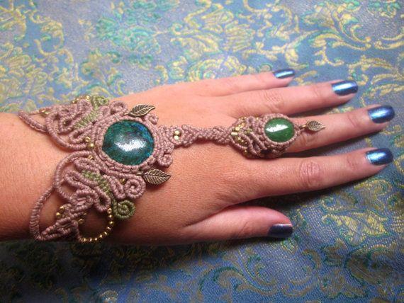 gypsy ring bracelet green chrysocolla dragons veinś by inespu