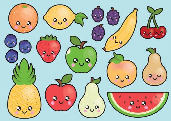 Clipart de haute qualité de vecteur. Joli fruit vector clip art. Ensemble kawaii fruits clipart. Clipart kawaii ! Cet ensemble dispose de