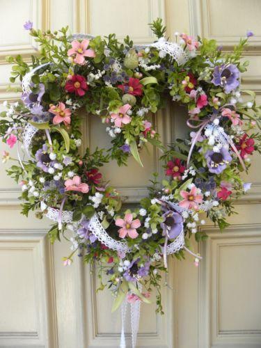 Valentines Day Floral Heart Door Wreath - Spring - Grapevine - Lavender, Pink