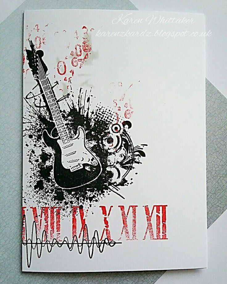 Bee Crafty rock guitar and Soundwaves xx  #beecraftystamps #dtsample #guitar #rock #romannumerals #randomnumbers #soundwaves #distressoxides #stamps #stamping #card #creative #craft