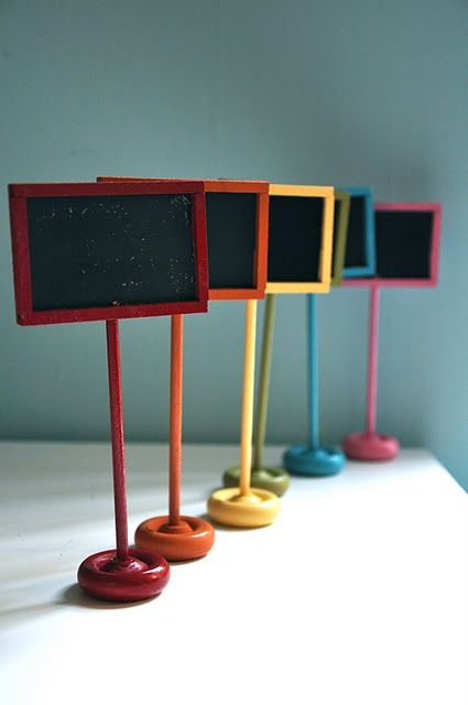 Perfect little chalkboard displays for All Kinds of parties, weddings, special events, offices, daycares, Real Estate Agents, retailers/shops + All that You are now thinking and creating while looking at this clever idea too ... and so easy to make! ~Crafty Kisses, Connie Sue!