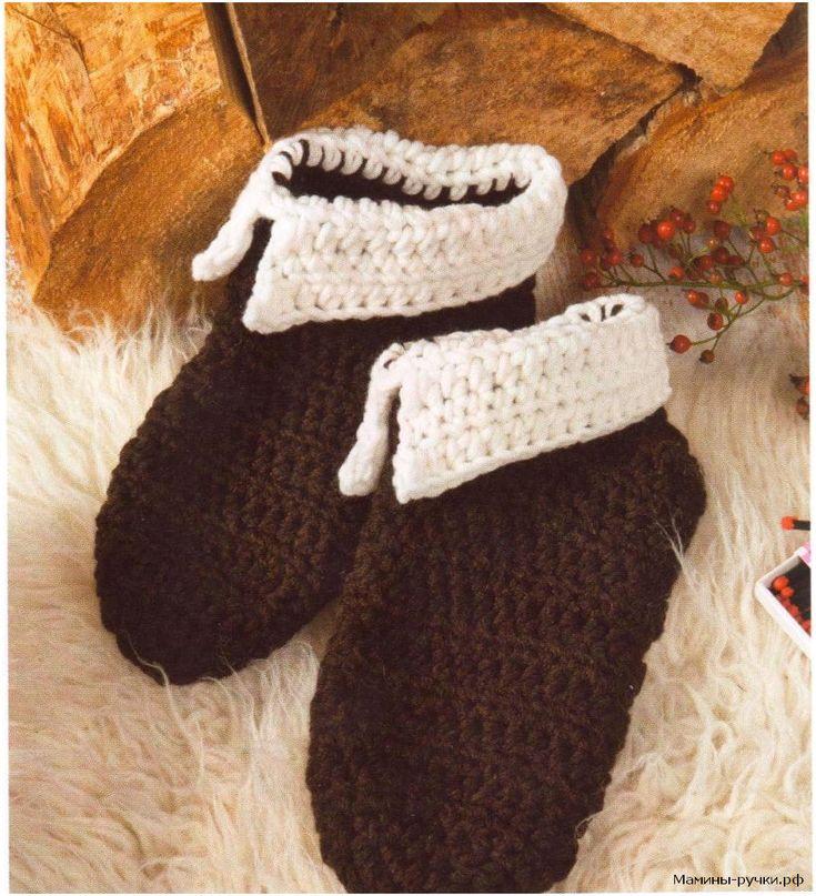Мужские носки-тапочки вязаные крючком от мыска (mens slipper socks crochet)
