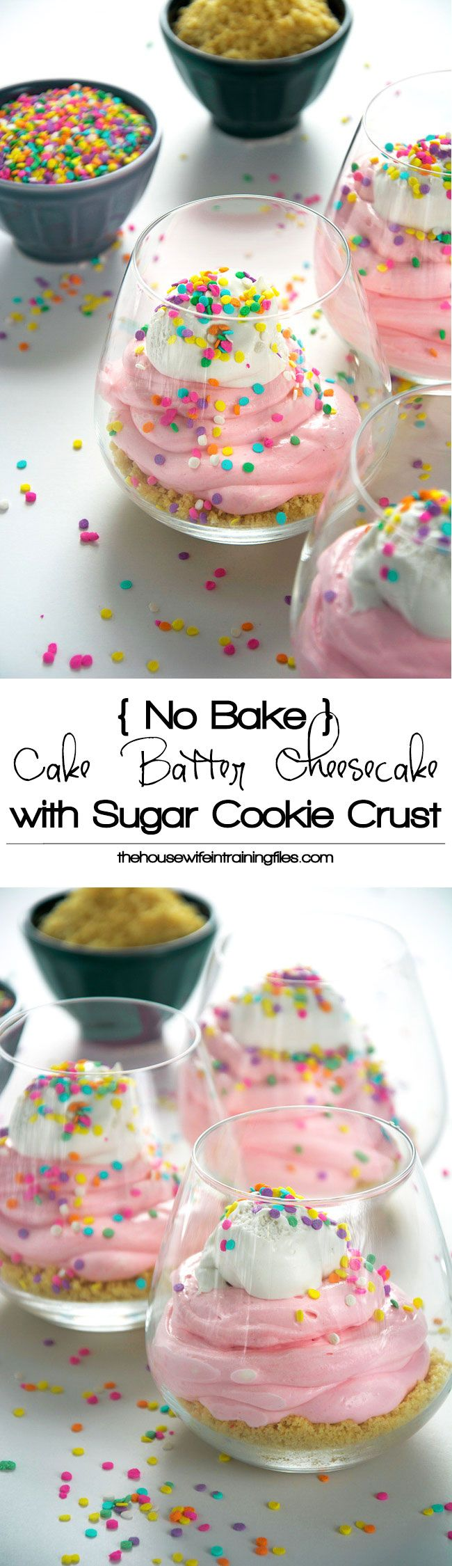 An easy, no bake cake batter cheesecake is healthy and simple to make with greek yogurt, low fat cream cheese, sprinkles and a buttery sugar cookie crust! #cheesecake #nobake #cakebatter #funfetti