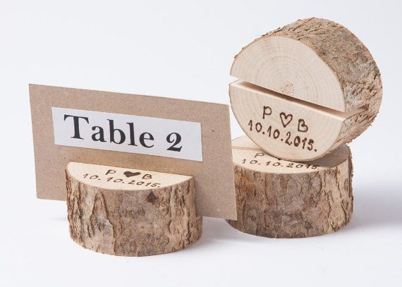 20 Personalized Rustic Wedding Table Number Holders Place